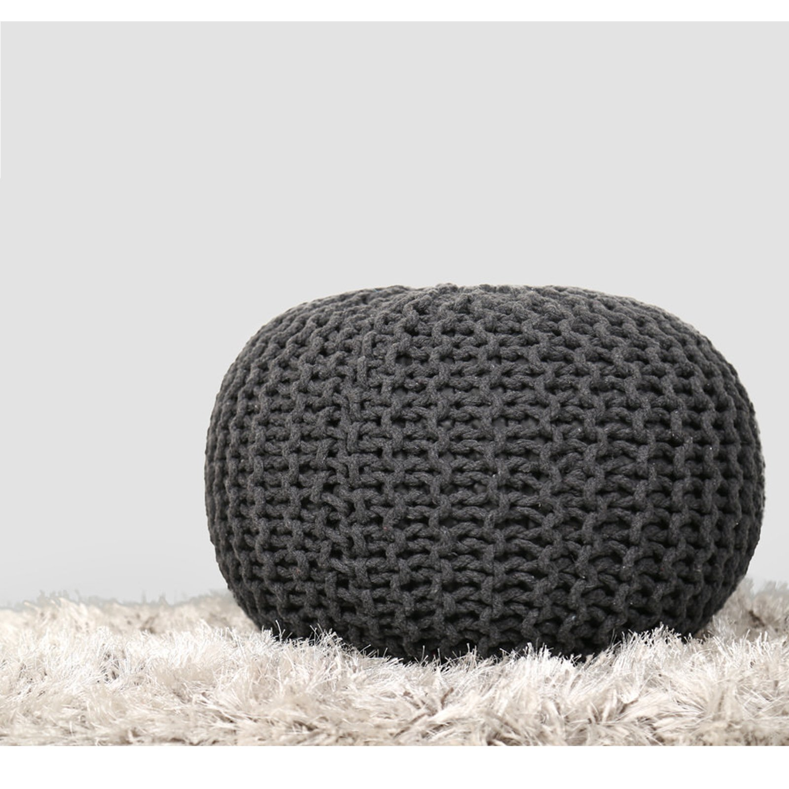RAJRANG BRINGING RAJASTHAN TO YOU Charcoal Grey Hand Knit Pure Cotton Stuffed Pouf Braid Cord Stitched Round Foot Home Decorative Perfect Patio Seating, D-20 x H-14 inch, by RAJRANG BRINGING RAJASTHAN TO YOU