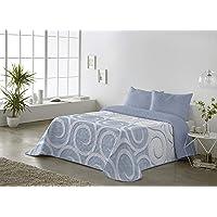 BOHEME Colcha Estampada Reversible Zuri Azul 180x270 - Cama 90 cm