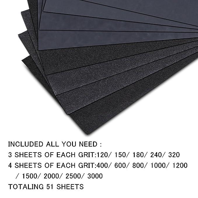 Utilis/é pour polir le m/étal 120 /à 3000 Grain Papier abrasif eau//sec 9 x 3,6 pouces les voitureshumide(42 Papier) le bois Papier de verre