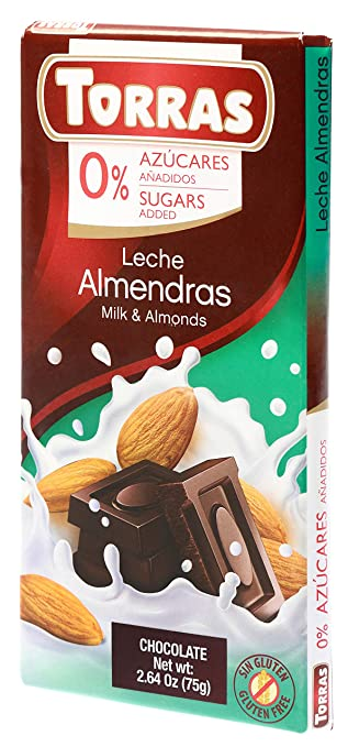 Amazon.com : Torras Sugar Free and Gluten Free Dark Chocolate Bar - Milk and Almonds (4 Pack) : Grocery & Gourmet Food