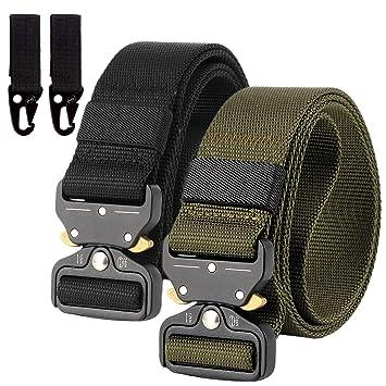 949130f00d93de 2er Unisex Gürtel Nylon Canvas Belt, Schnellverschluss Military Style  Shooters Nylon Gürtel mit Metallschnalle,