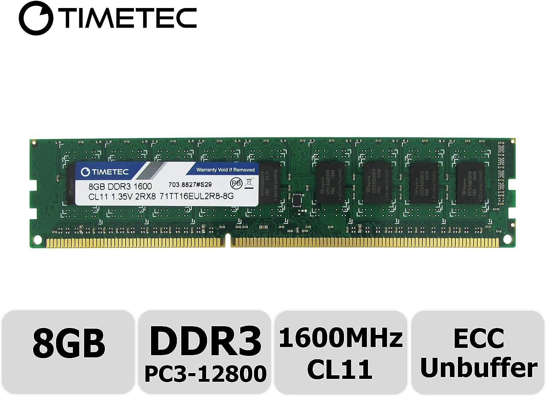 Timetec Hynix IC 8GB DDR3L 1600MHz PC3-12800 Unbuffered ECC 1.35V CL11 2Rx8 Dual Rank 240 Pin UDIMM Server Memory Ram Module Upgrade (8GB)