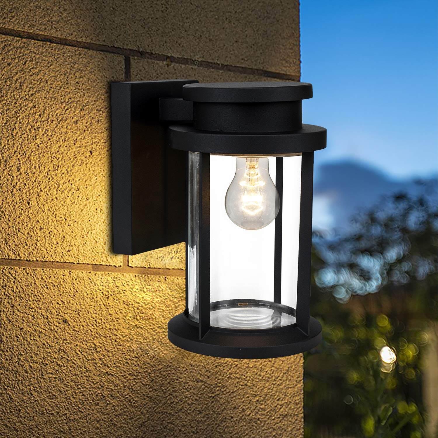 Moon Bay Outdoor Wall Down Round Pagoda Light, High Volt, E26 Base Socket(excl), Modern Lantern Design, Die Cast Aluminum Body with Clear Glass Shade, Waterproof for Entryway,Porch,Doorway,(Black)