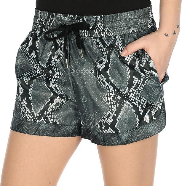 adidas LA Print Short - Pantalón Corto para Mujer, Color Gris/Negro/Blanco, Talla 38