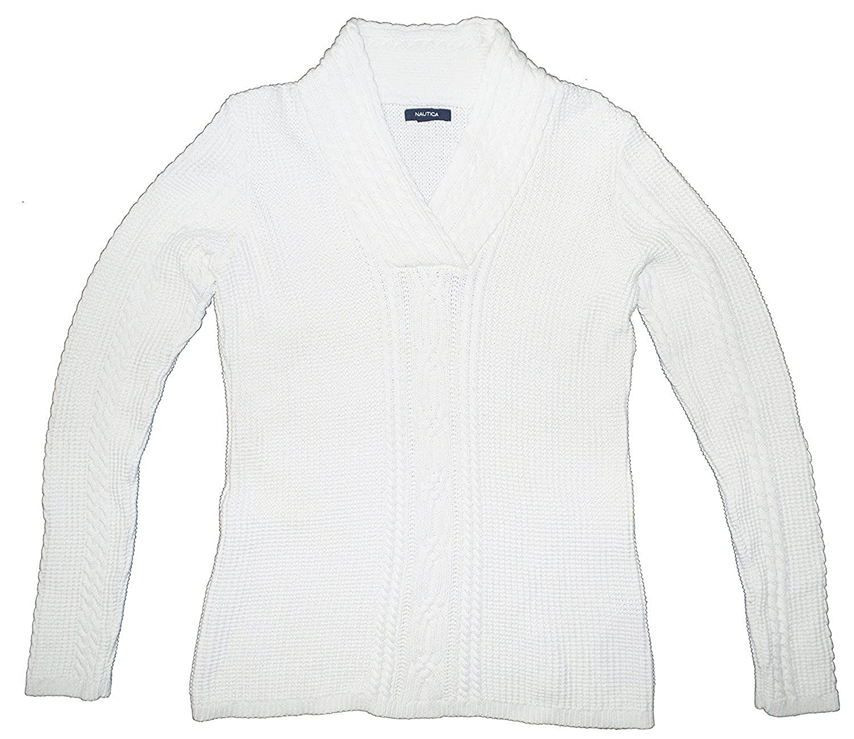 848e1f24cc Nautica Womens Cable Knit Pullover Sweater Cream White at Amazon Women s  Clothing store