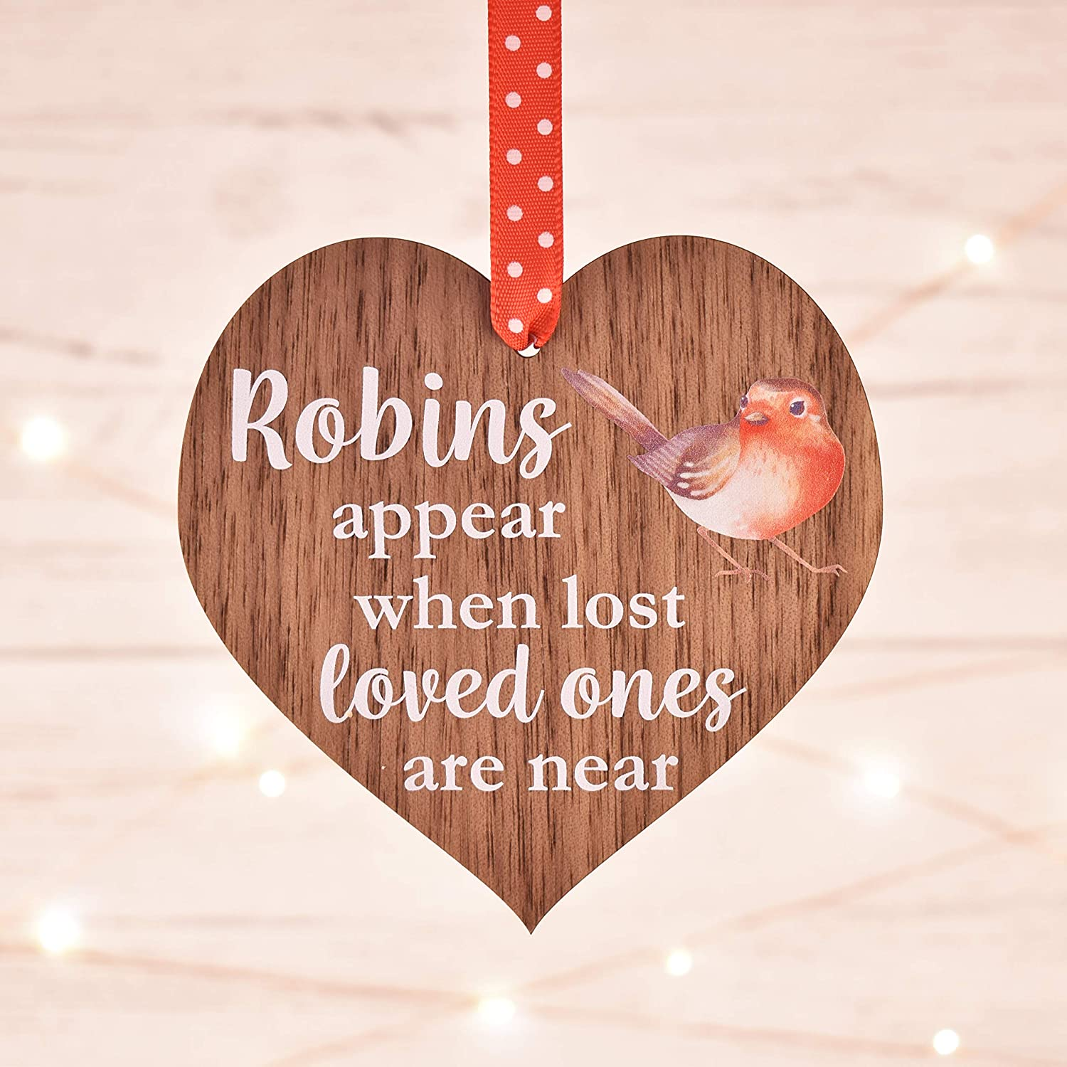 10cm Maisie Moo Gifts Limited Robins Appear When Lost Loved Ones Are Near Wooden Memorial Love Heart Saying Thoughtful Hanging Sign Plaque Decoration