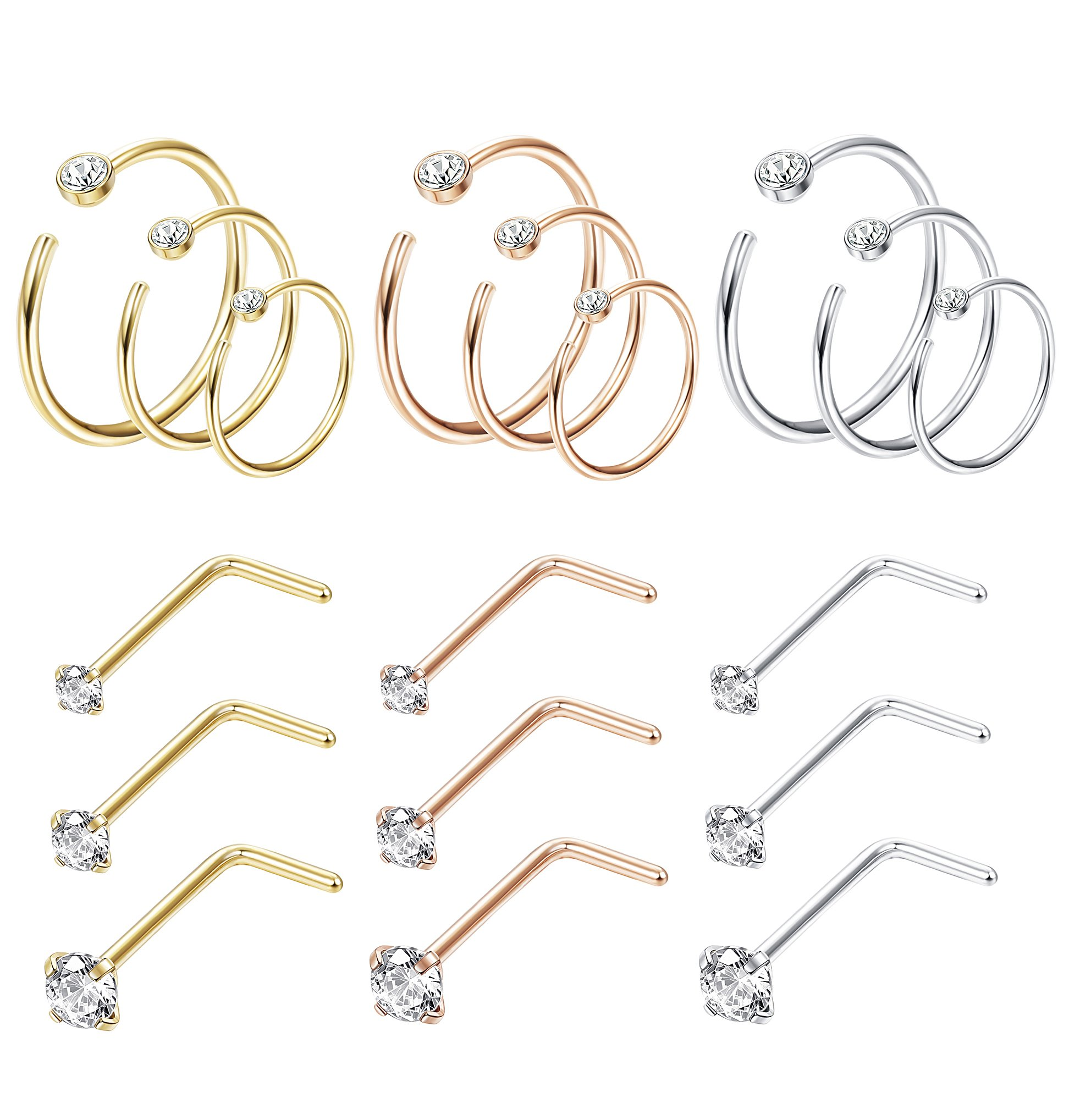 Thunaraz 18Pcs 20G Stainless Steel CZ Stud Screws Rings Set Nose Ring Hoop Cartilage Hoop Ear Septum Piercing For Women Men