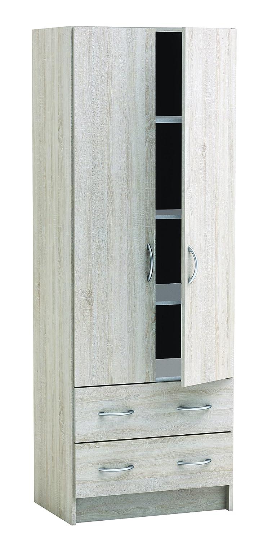 d/écor Chene bross/é et Lin tiss/é G/én/érique Dual Armoire de Chambre 61 cm