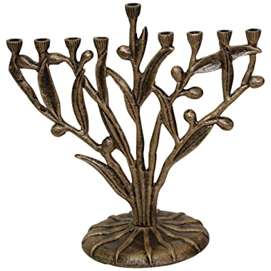 Hanukkah Menorah Olive Tree Design - Rustic Brass