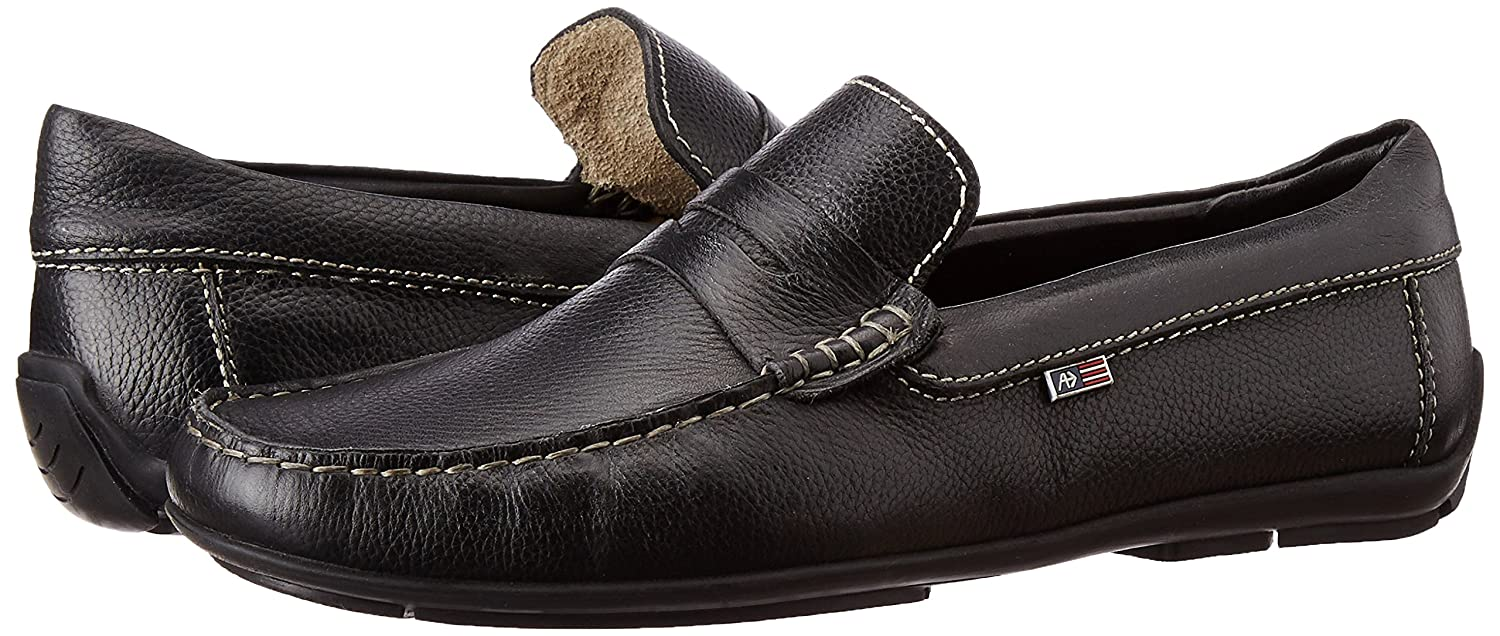 449a540ab98 Arrow Men s Black Leather Loafers and Moccasins - 9 UK India (43 EU)  Buy  Online at Low Prices in India - Amazon.in