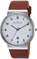 Skagen Men's Saddle Leather Watch with Arabic Numbers