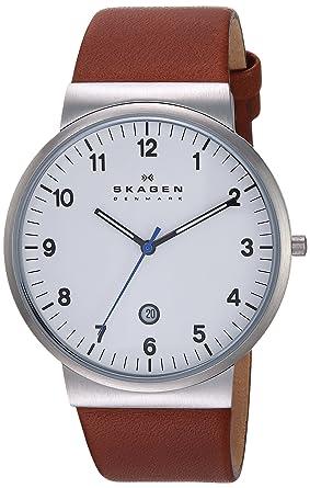 Skagen Reloj Hombre de Analogico con Correa en Cuero SKW6082: Skagen: Amazon.es: Relojes