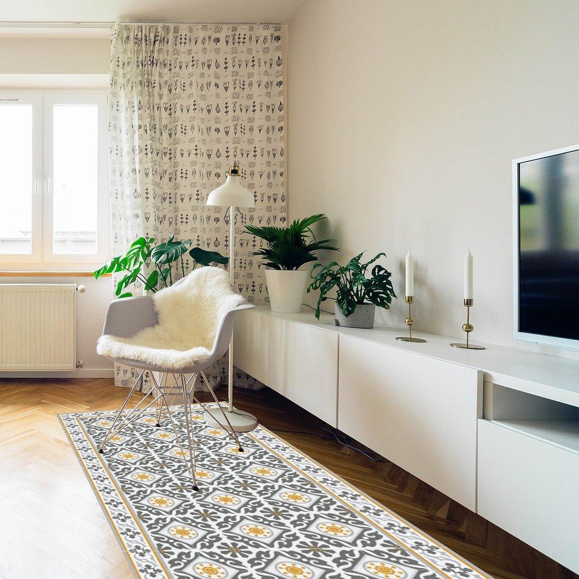 Gray & Yellow Kitchen vinyl mat Carpet Tiles Pattern Decorative linoleum rug 214