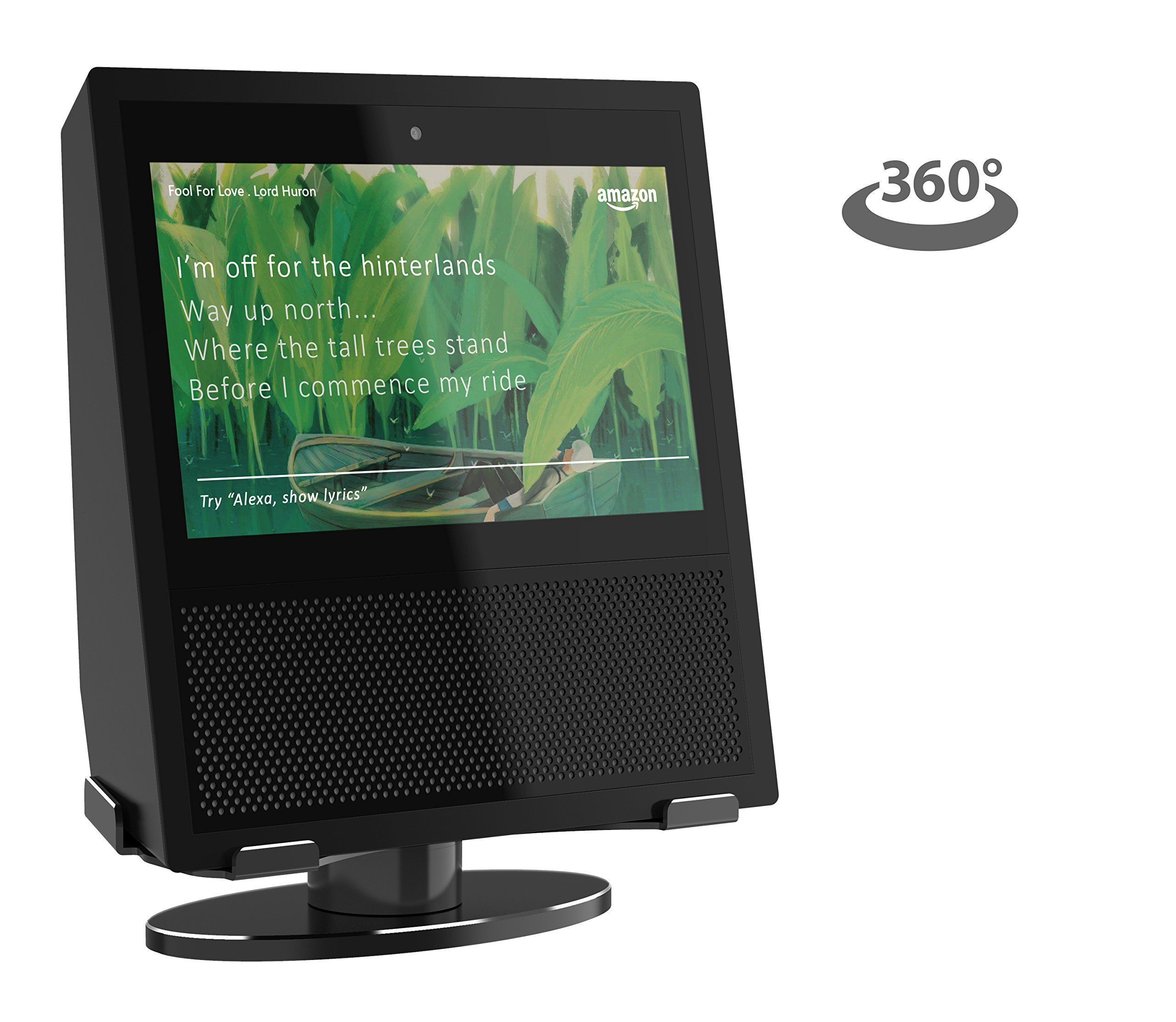 Echo Show Stand, 360 Degree Rotating Secure Aluminum Stand Mount, Low Profile Design with Steady and Stable Rubber Non-Scratch Base for Alexa Show (BLACK)