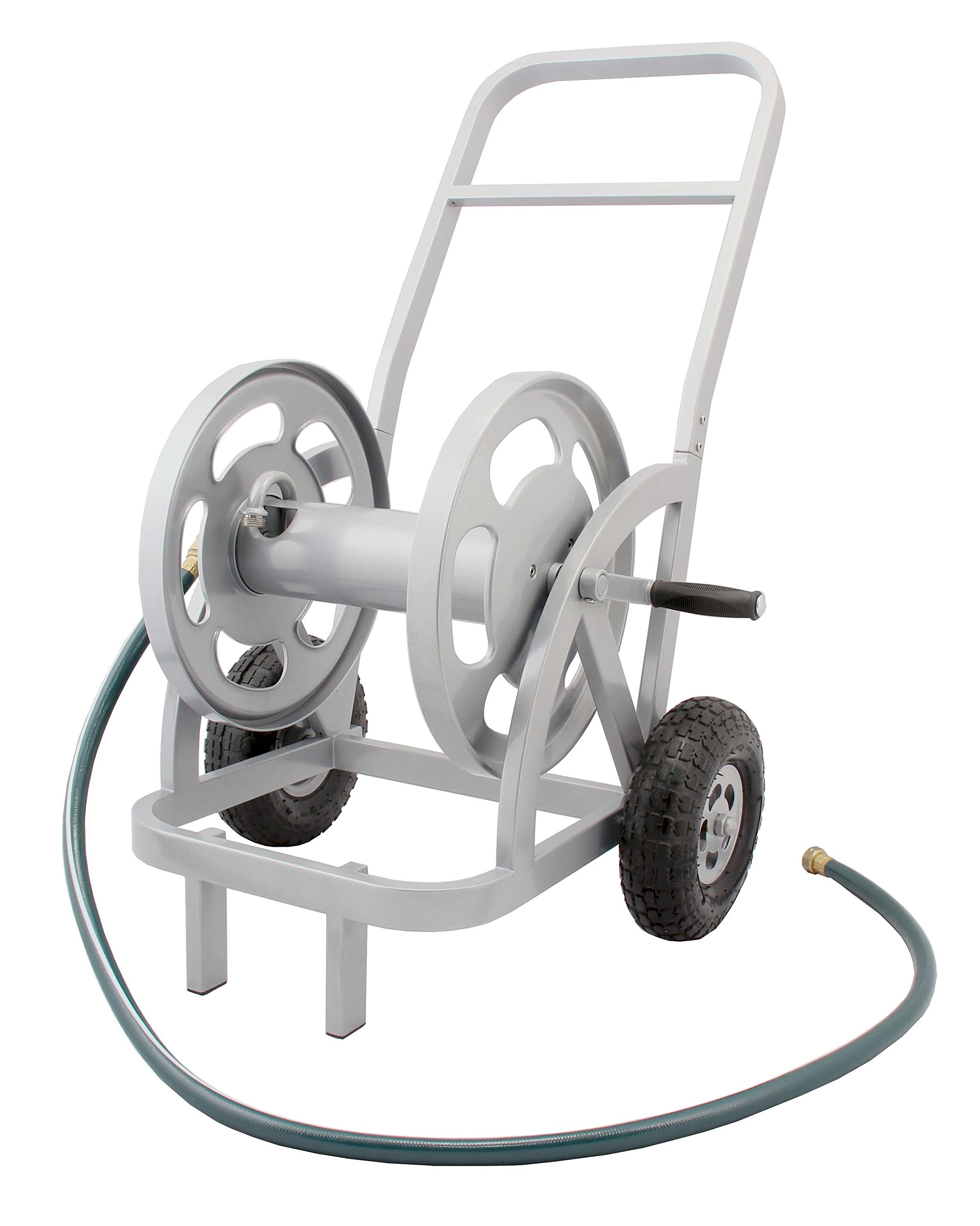 Liberty Garden Products 1200 Silver 2-Wheel Garden Hose Reel Cart, Holds 200-Feet of 5/8-Inch Hose by Liberty Garden Products