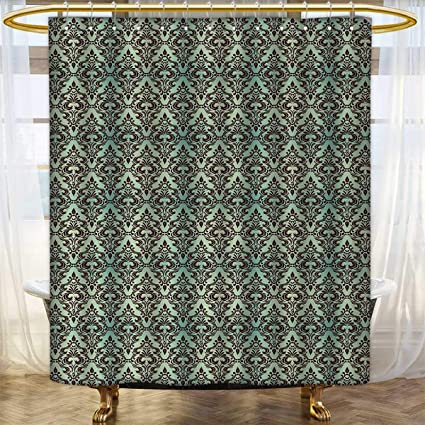 Anhounine Mint And Brown Shower Curtains Fabric Baroque Flower Motifs In Damask Style Traditional Revival Art