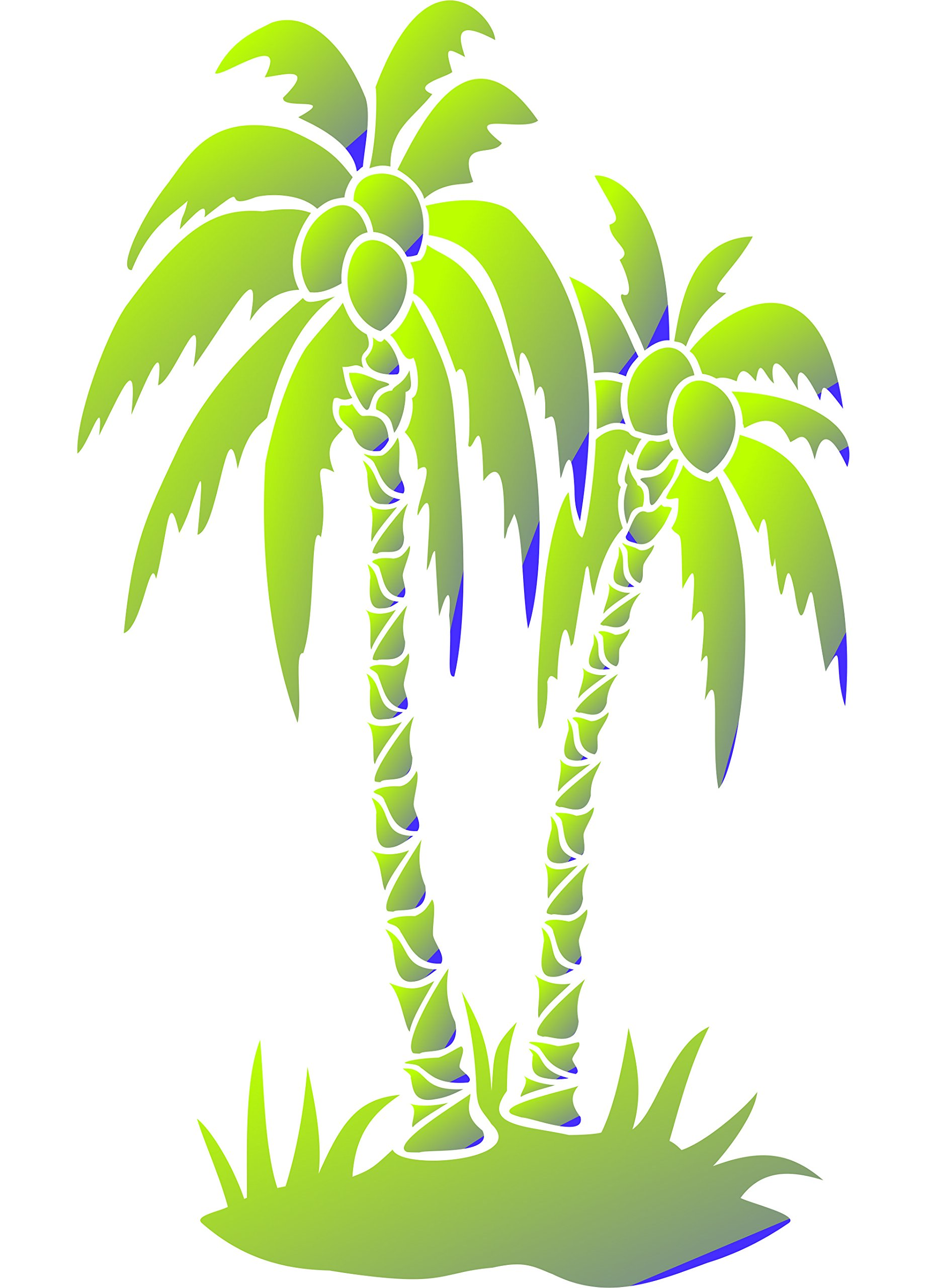 Palm Trees Stencil - (size 10''w x 14''h) Reusable Wall Stencils for Painting - Best Quality Wall Art Décor Ideas - Use on Walls, Floors, Fabrics, Glass, Wood, Terracotta, and More... by Stencils for Walls