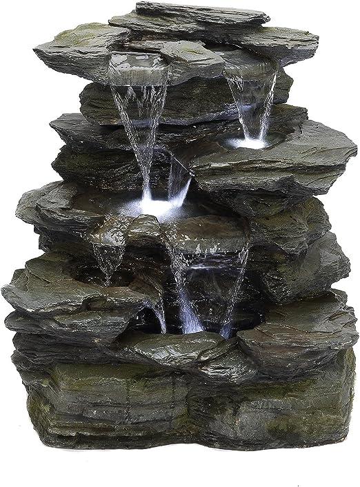 Köhko 11002 - Fuente de jardín (Piedra Natural, con iluminación LED, 8 L): Amazon.es: Jardín