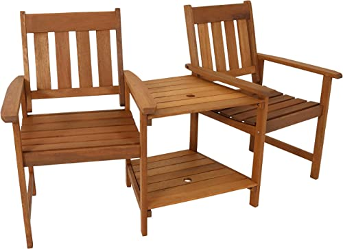 Sunnydaze Meranti Wood with Teak Oil Finish Outdoor Jack-and-Jill Chairs with Attached Table – 2-Chair Tete-a-Tete Furniture Set for Garden, Lawn, Porch, Balcony and Lawn – 65-Inch