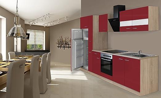 respekta Instalación de Cocina Cocina 300 cm Roble Rojo ...