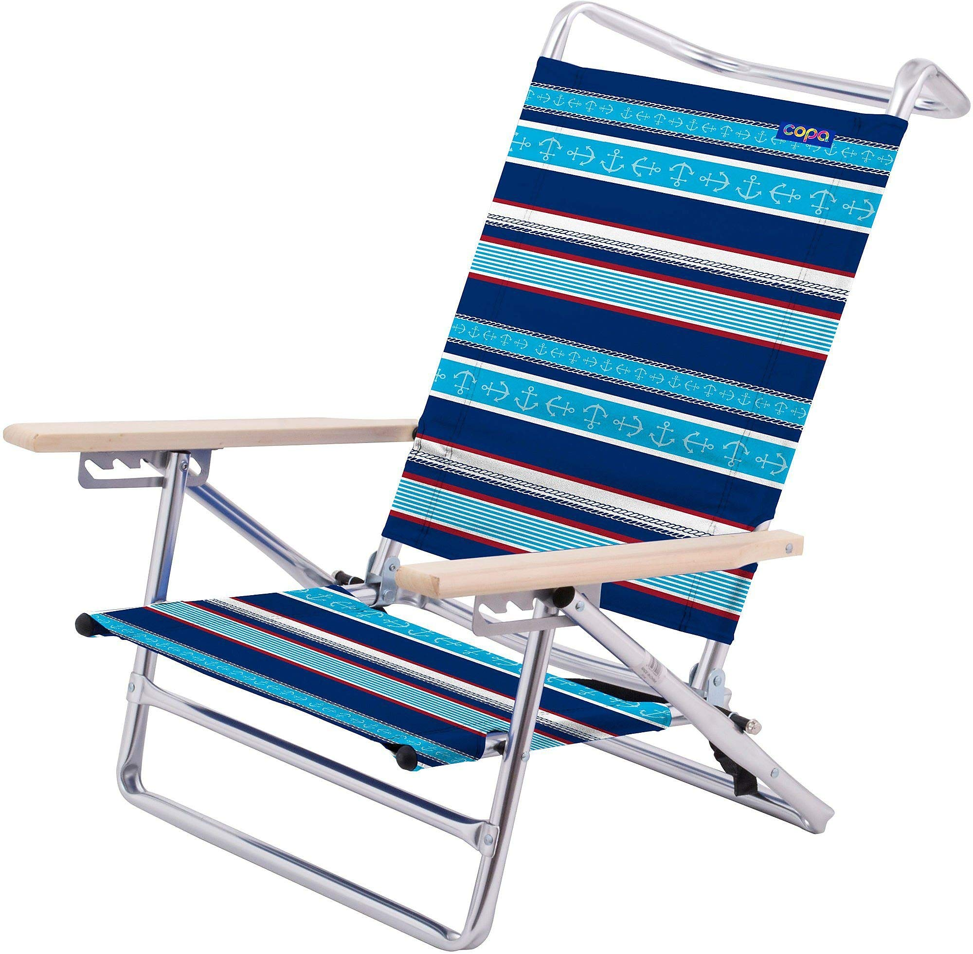 JGR Copa 5-Position Stripe Anchor Lay Flat Beach Chair One Size Blue/red/White
