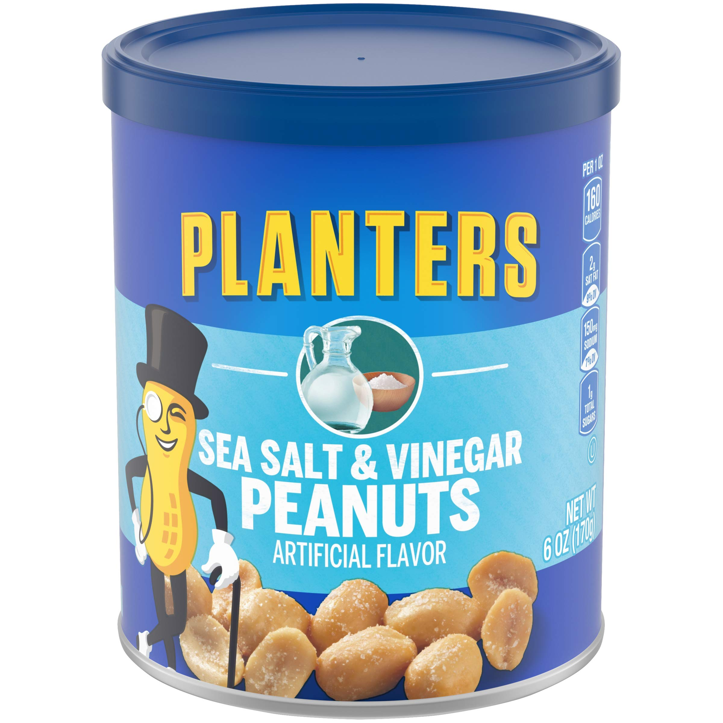 Planters Salt & Vinegar Peanuts (6 oz Canister, Pack of 8) by Planters