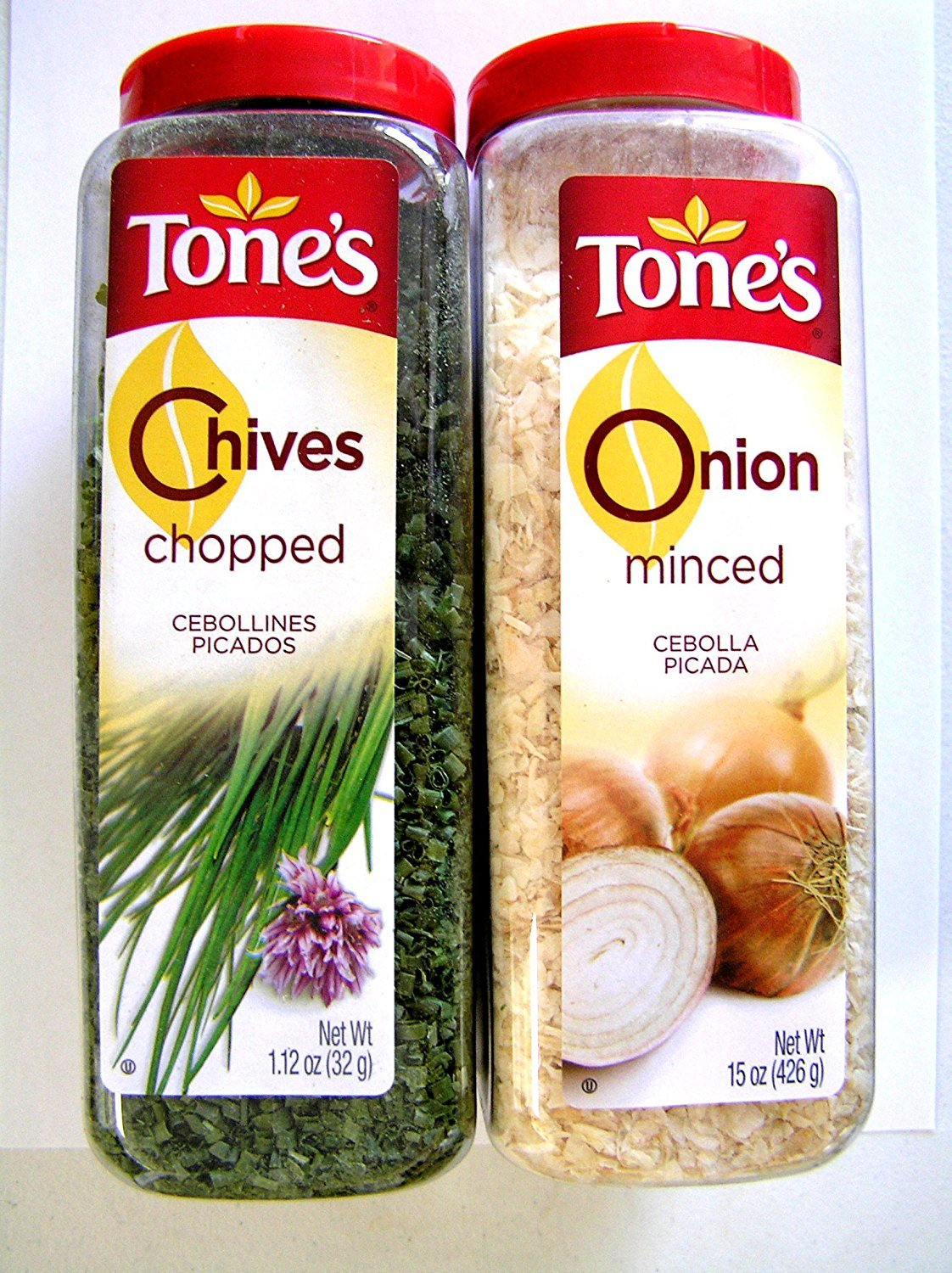 Tones Chopped Chives 1.12 Oz Shaker & Minced Onion 15 Oz Shaker by Tone's (Image #1)