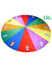 NARMAY Play Parachute for Kids Animals Rainbow with 12 Handles - 12 Feet