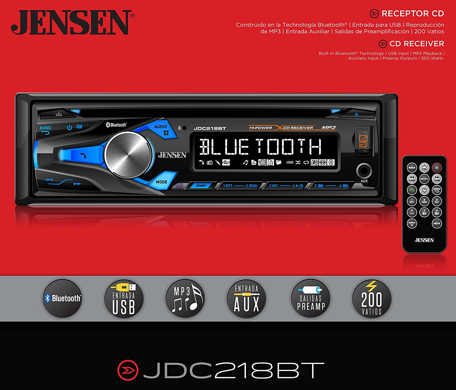 JENSEN JDC218BT Multimedia High Definition 10 Character LCD Single DIN Car Stereo Receiver with Built-in CD Player, Bluetooth, USB & MP3 Player Dual Jensen