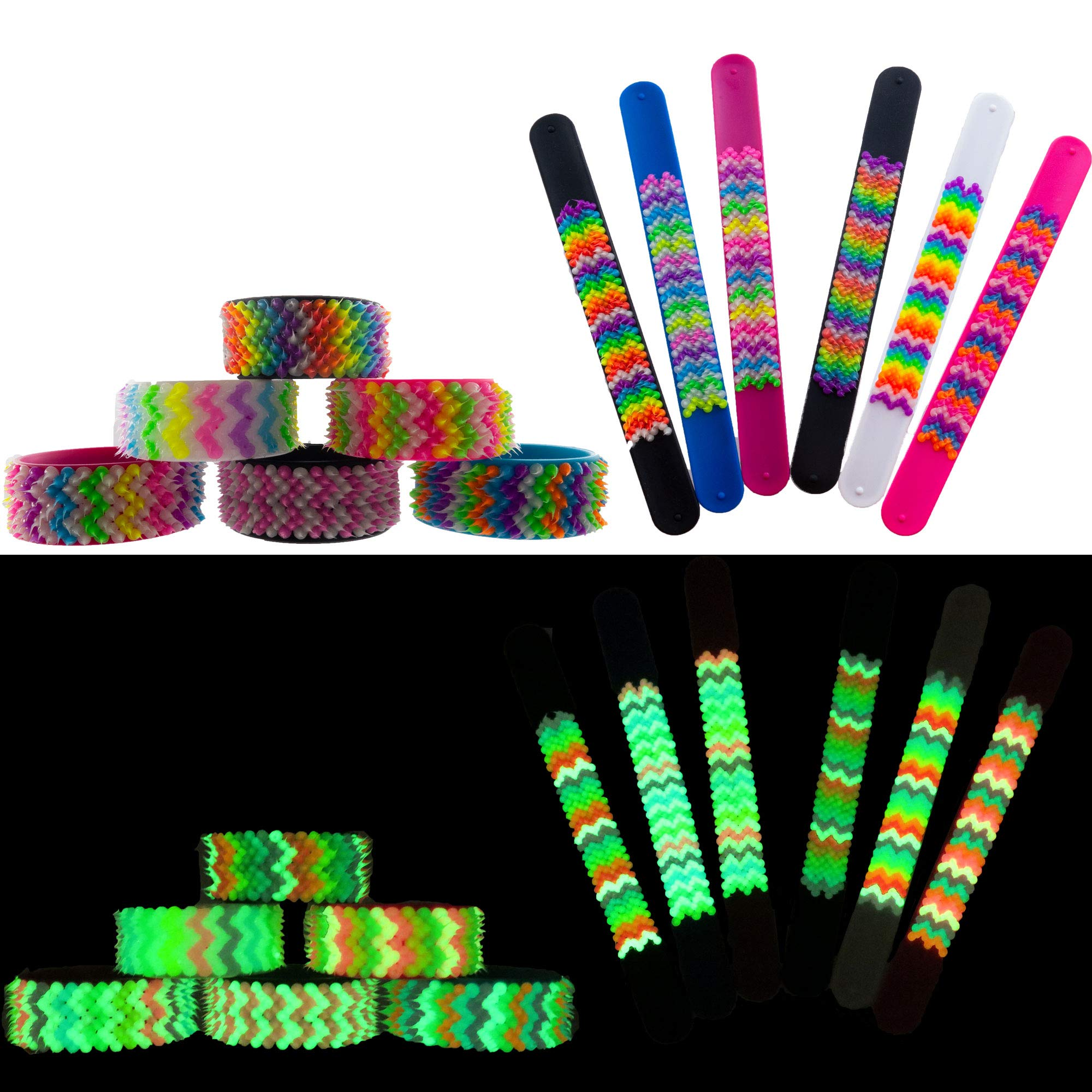Glow in The Dark Slap Bracelets for Boys Girls Kids 12 PCs – Silicone Slap On Wristbands with Fluorescent and UV - Black Light Reactive Multicolored Spikes – Great Birthday Party Favors - Supplies