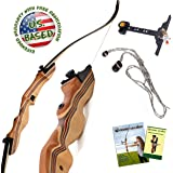 "KESHES Takedown Hunting Recurve Bow and Arrow - 62"" Archery Bow for Teens and Adults, 15-55lb Draw Weight - Right and Left Handed, Archery Set Bowstring Arrow Rest Stringer Tool Sight, Instructions"