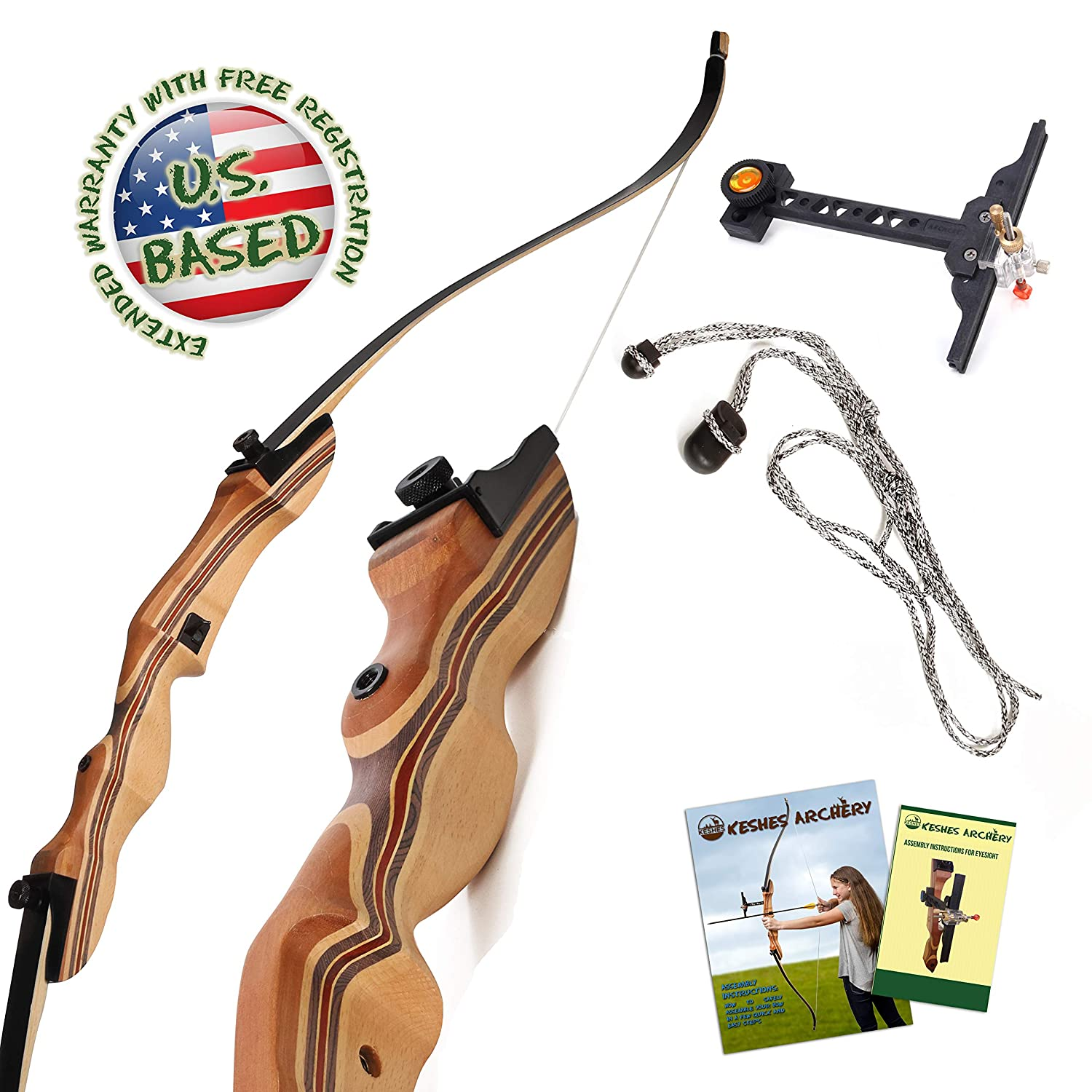 KESHES Takedown Hunting Recurve Bow and Arrow – 62 Archery Bow for Teens and Adults, 15-55lb Draw Weight – Right and Left Handed, Archery Set Bowstring Arrow Rest Stringer Tool Sight, Instructions