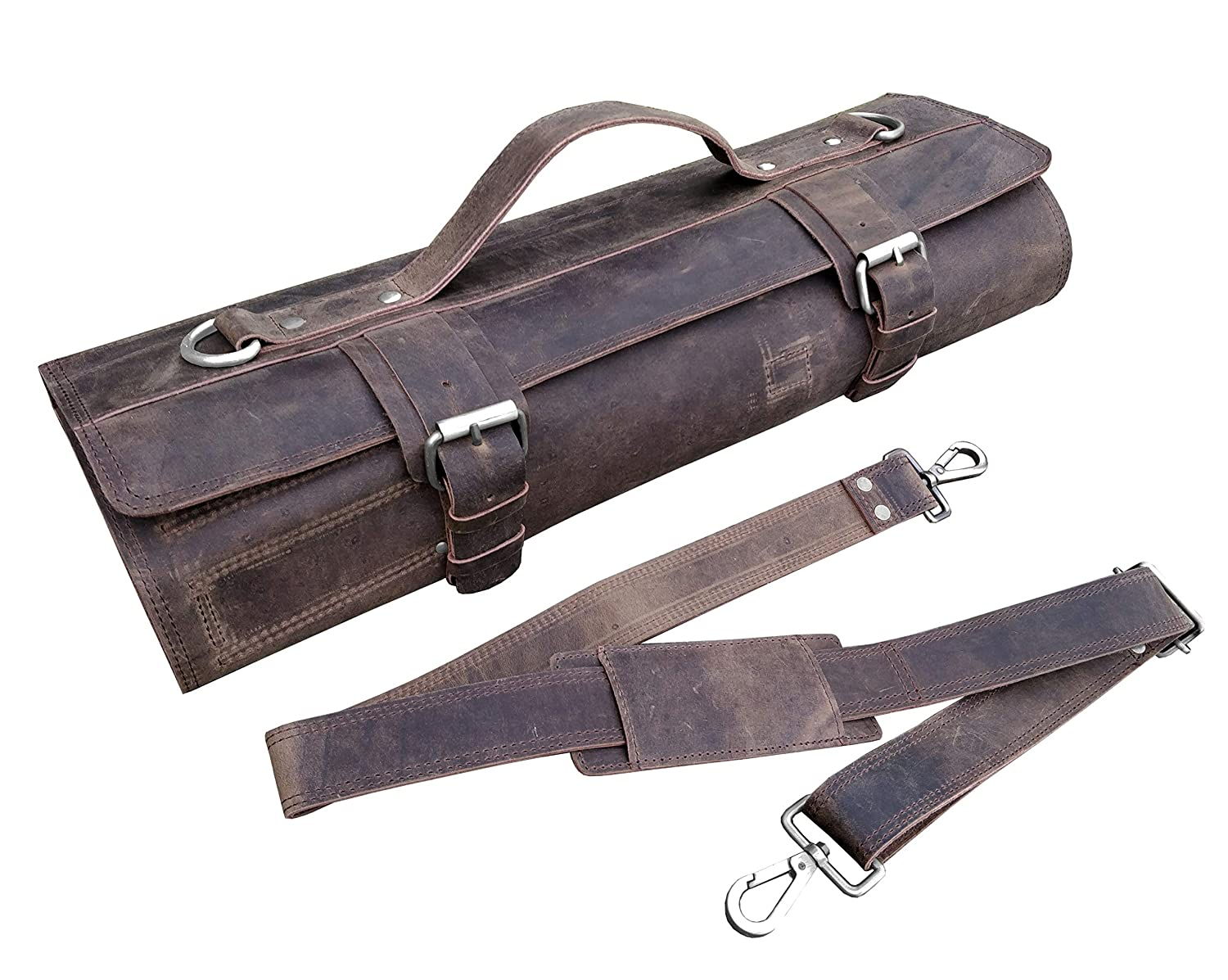 One Leaf - Leather Knife Roll Chefs Bag Hunter Leather - Bedouin X (Silver Color Buckle)