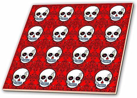 Amazon.com: 3dRose Ct_28883_2 Day Of The Dead Skull Dia De Los Muertos Sugar  Skull Print White Red-Ceramic Tile, 6-Inch: Home & Kitchen
