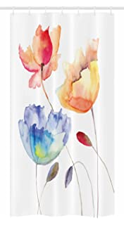 Ambesonne Watercolor Flower Stall Shower Curtain Summer Flowers In Retro Style Painting Effect Nature Is