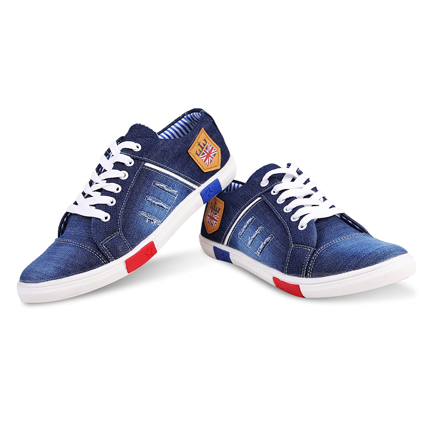 17cf5db9 Zovim Men's Denim Jeans Sneakers Casual Shoes - Blue: Buy Online at Low  Prices in India - Amazon.in