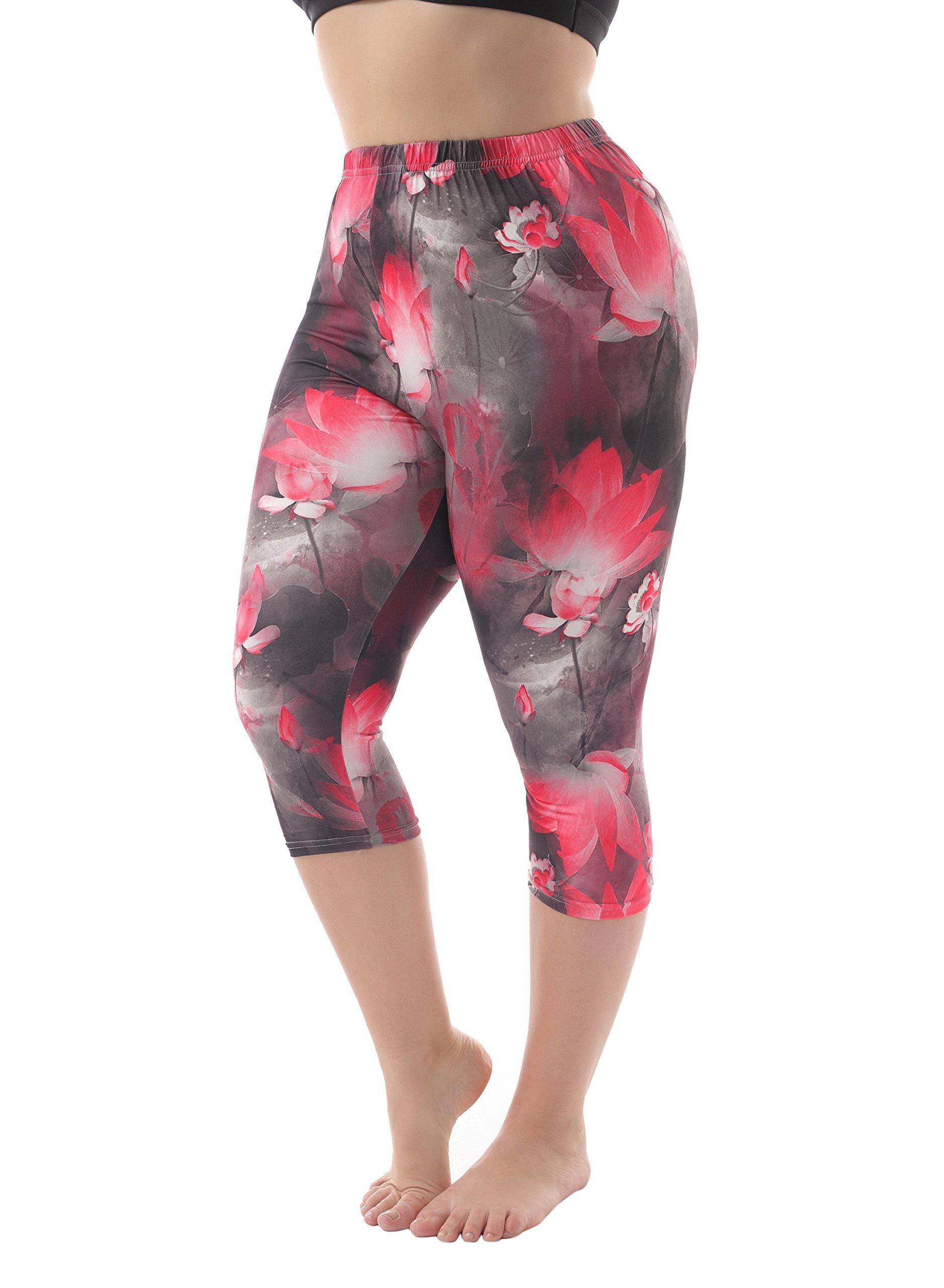 ZERDOCEAN Women's Plus Size Lightweight Printed Capri Leggings style-020 1X