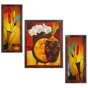 Ray Decors Framed Reprint Modern Wall Art Paintings With Textured Art Work   SET503  Wall Decor/ Wall Hangings/ Wall Decals/ Home Decor/ Gift Items: ...