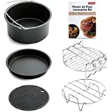 Hiware Air Fryer Accessories Fits All 3.2QT - 5.3QT - 5.8QT - Non-stick Barrel / Pan + Stainless Steel Holder / Double-layer Rack with Skewers+ Silicone Mat + Air Fryer Cookbook