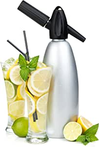 Professional Soda Siphon and Seltzer Water Maker (1 Pint/1L) with Illustrated Cocktail Recipe Book