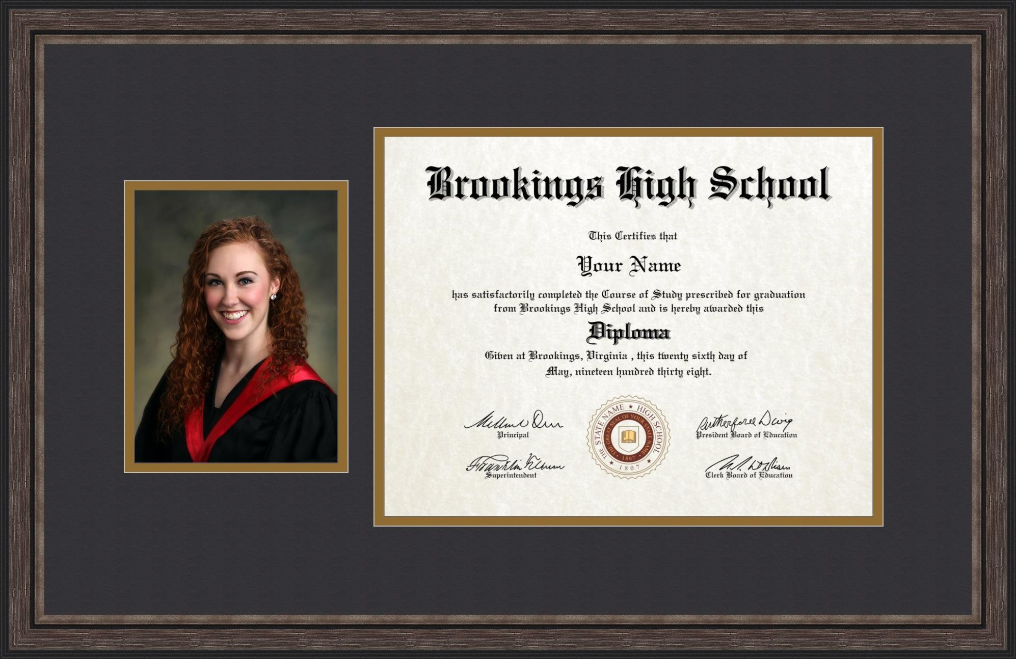 ArtToFrames 11x14 Diploma Frame with 6x8 Picture Opening - Framed in Grey and Black, Diploma-4225-89/596-0066-83120-YGRY