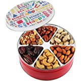 Happy birthday nuts gift basket Tin Six Sectional filled with Assorted Freshly Roasted Nuts about 1.25 pounds Great Healthy Gift idea for HIM HER BOYS GIRLS MEN WOMEN PRIME DELIVERY