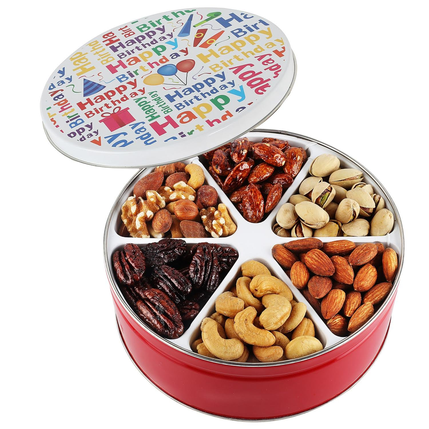 Happy birthday nuts gift basket Tin Six Sectional filled with Assorted Freshly Roasted Nuts about 1.25 pounds Great Healthy Gift idea for HIM HER BOYS GIRLS MEN WOMEN PRIME DELIVERY by Going Nuts