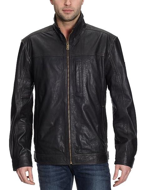 stable quality arrives online retailer camel active Men's Jacket 4301 Leather Jacket - Black - 48 ...