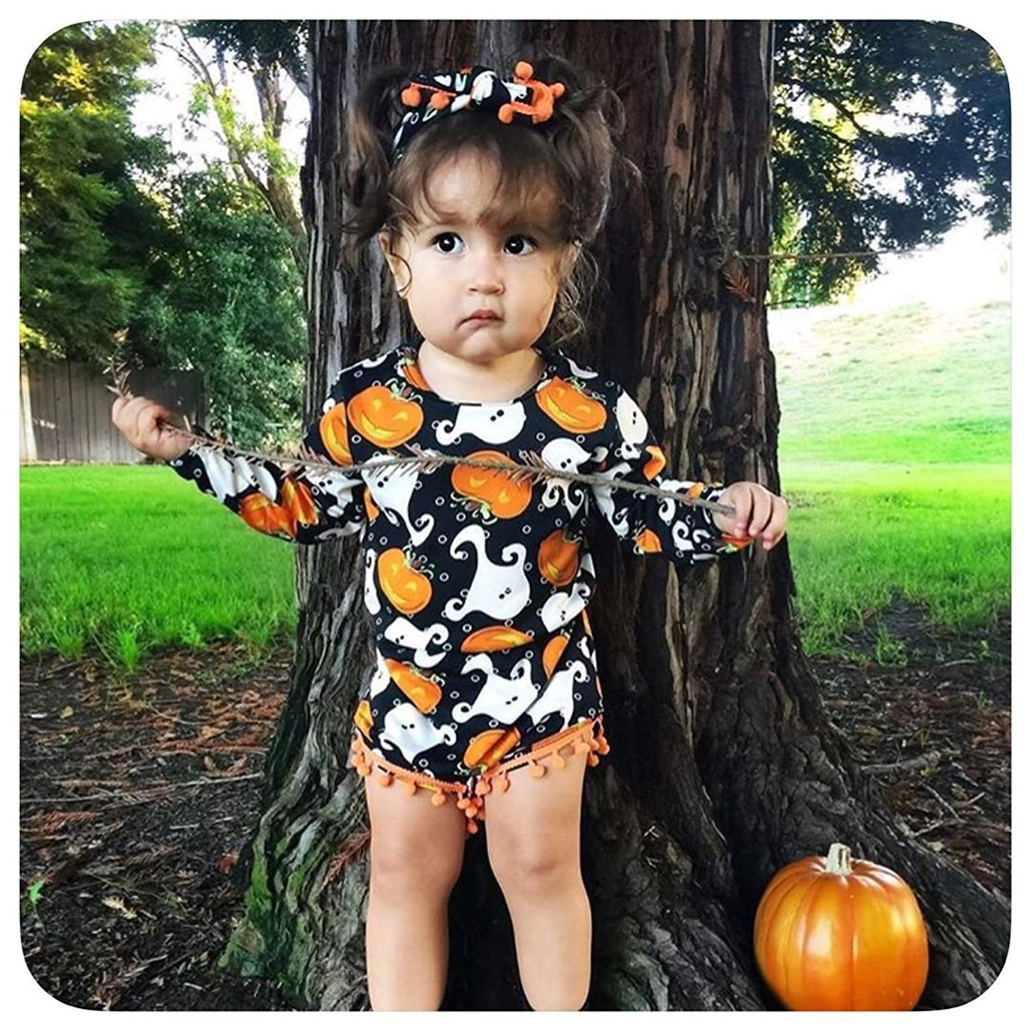My First Halloween Outfit Sets Newborn Pumpkin Bodysuit with Headband Baby Girls Clothes(0-3M by Okgirl (Image #7)