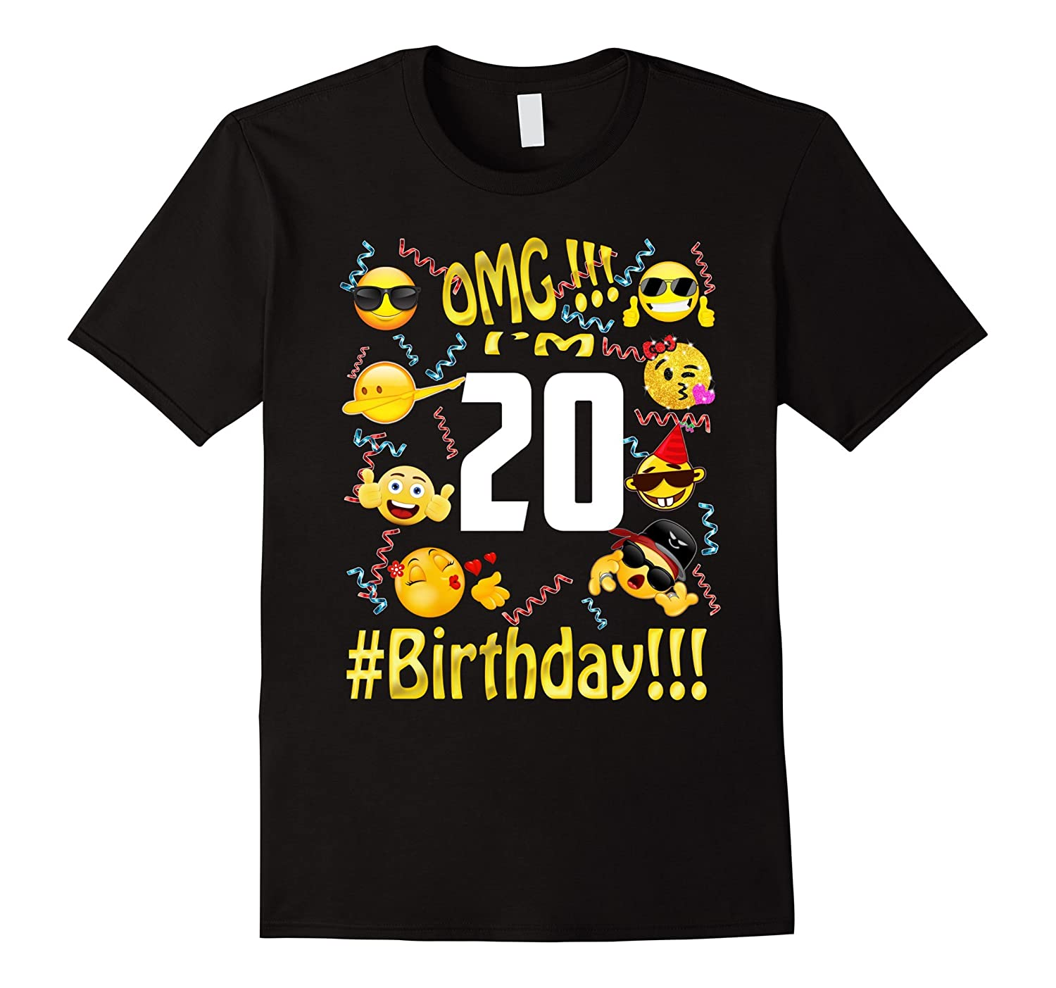 Emoji Birthday Shirt For 20 Twenty Year Old Girl Boy Party
