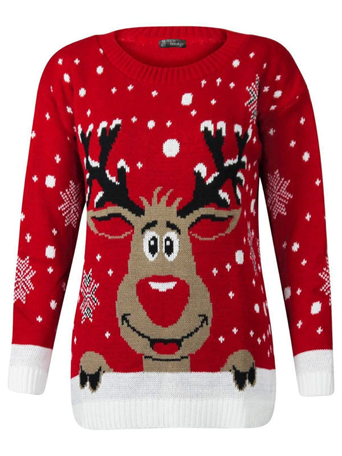 Girls Boys Unisex Kids Children Reindeer Rudolph Snowflake XMAS Christmas Holidays Knitted Jumper Pullover Sweater Red)