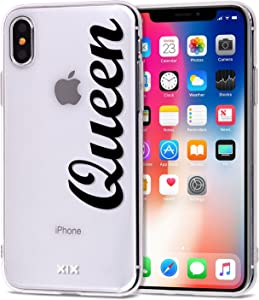 iPhone Xs Max Case Queen Slim Fit Black Shockproof Bumper Cell Phone Accessories Queen & King Design Thin Soft TPU Protective Cover for Women Apple iPhone Xs Max Cases Luxury for Girls (06)