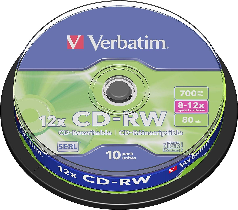Verbatim 43480 - Pack de 10 CDs regrabables de 700 MB: Verbatim: Amazon.es: Informática