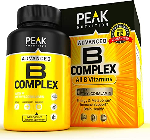 5X Potent B Complex Vitamin Supplement - Made in USA - All B Vitamins Including Vitamin B12, Folic Acid, B1, B2, B3, B5, B6, and B7 - Supplement for Energy, Stress, Brain Function and Immune Support